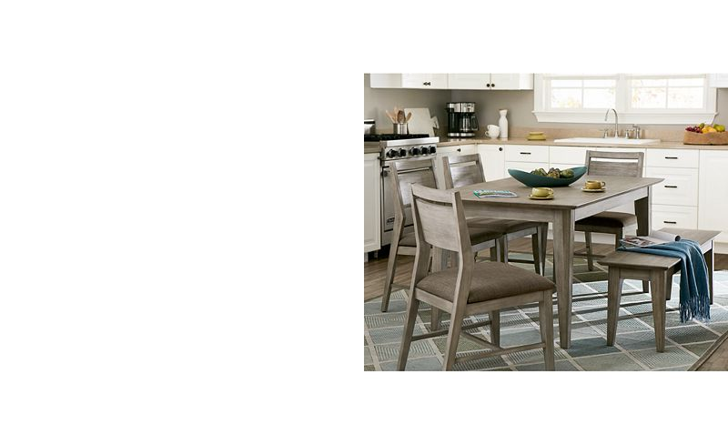 kips cove dining furniture 6 pc set dining table 4 side chairs bench furniture macys - Kitchen Table Sizes